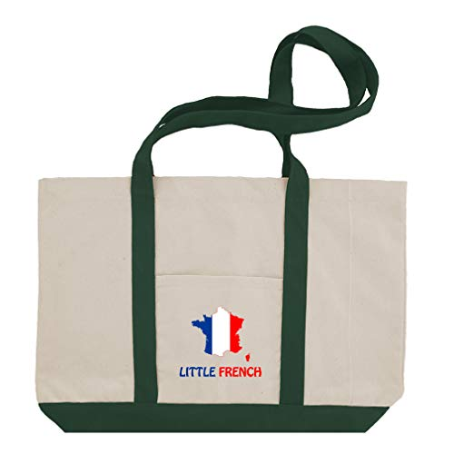 (Little French Cotton Canvas Boat Tote Bag Tote - Green)