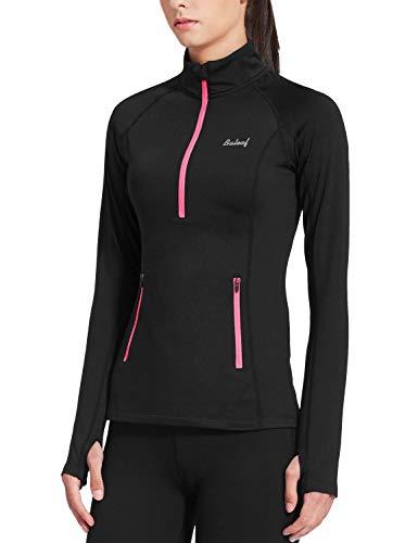 BALEAF Women's Fleece Half Zip Track Running Jacket Collared Long