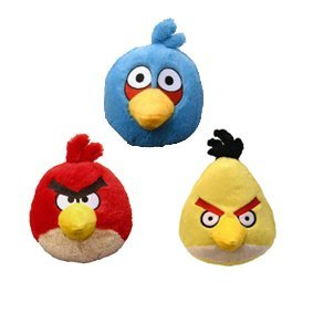 Amazon Com Angry Birds Plush 4 Inch Red Blue Yellow Birds Set Of
