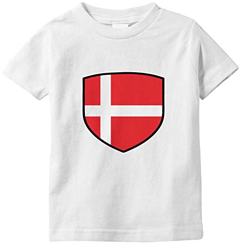 Amdesco Denmark Shield Danish Flag Infant T-Shirt, White 6 Month