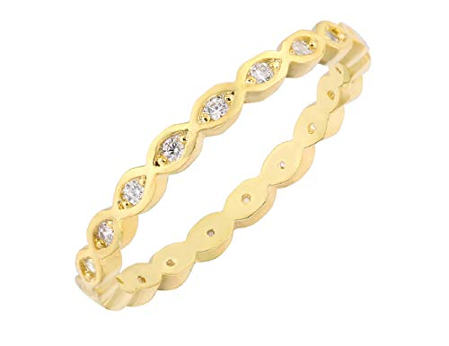 CloseoutWarehouse Cubic Zirconia Stackable Endless Eternity Ring Sterling Silver Yellow Gold-Tone Plated Size 3