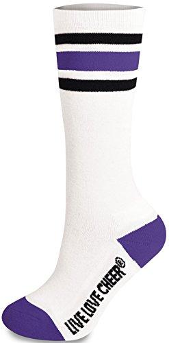 [Knee High Striped Sock Purple Adult] (Adult Cheerleader Outfits)