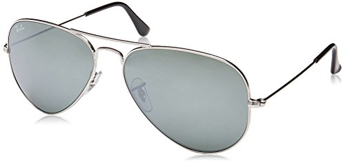 Ray-Ban 3025 Aviator Large Metal Mirrored Non-Polarized Sunglasses, Silver/Silver Mirror (W3277), - Aviator Ban Ray Silver Frame