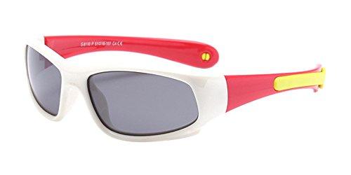 BOZEVON Lunettes de Soleil Polarisées pour Enfants Garçons Filles Monture en caoutchouc flexible Sport Lunettes Blanc/Rouge
