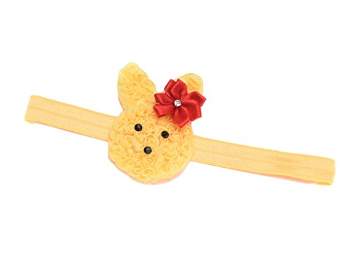 Baby Grils Headband Bunny Rabbit Ears with Satin Flowers for Easter Day Gift JHE02 (Yellow) ()