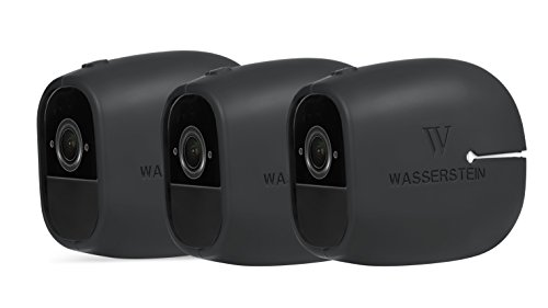 (3 x Silicone Skins Compatible with Arlo Pro & Arlo Pro 2 Smart Security - 100% Wire-Free Cameras - by Wasserstein (3 Pack, Black))