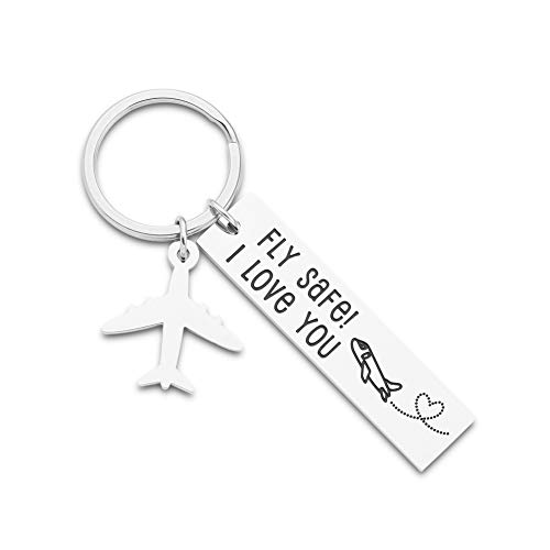 Pilot Gifts Fly Safe i Love You Keychain For Flight Staff Airline Worker Boyfriends Husband Dad Gift Long Distance Traveler Gift For Birthday Anniversary Couple Him Her Men Women