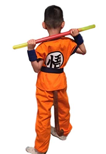 SSJ Dragonball Goku Style Costume 5-Piece Set [Satoru Mark Kids] Japanese Amime (L_51.1-55.1in, Plus Stick)]()