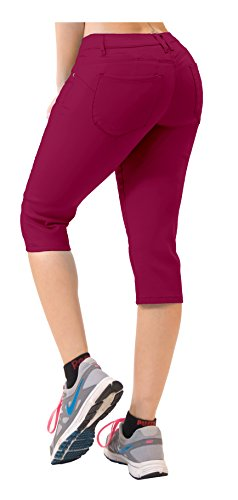 Women's Butt Lift Super Comfy Stretch Denim Capri Jeans Q43308 Wine 7 -