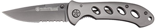[Smith & Wesson SW423BS Oasis Serrated Drop Point Blade Knife, Titanium Coated Handle and Blade] (Oasis Drop Box)