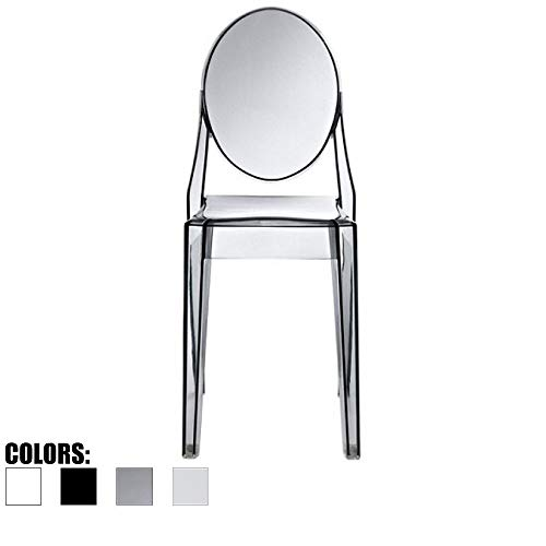 - 2xhome - Victoria Style Ghost Side Chair Transparent Acrylic Chair (Smoke)