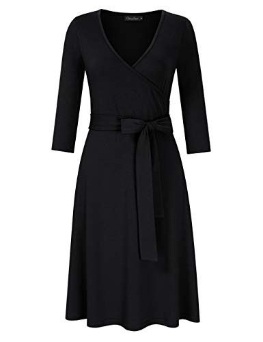 GloryStar Women Faux Wrap A Line Dress V Neck Long Sleeve Knit Dress Work to Wear Dress