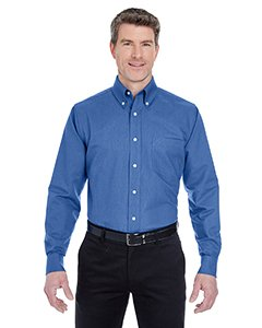 UltraClub Mens Classic Wrinkle-Free Long-Sleeve Oxford (8970) -FRENCH BLU -L