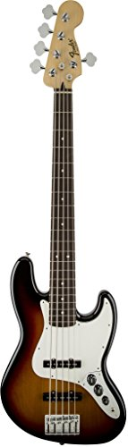 Fender Standard Jazz Electric Bass Guitar - V String - Rosewood Fingerboard, Brown - Jazz Active Electric Bass