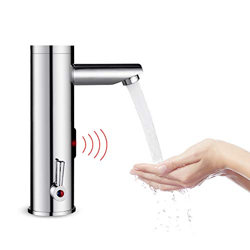 Automatic Sensor Touchless Faucet, Motion Activated Hands-Free Bathroom Vessel Sink Tap, Hot and Cold Mixer, Chrome Finish by Amyfaucet