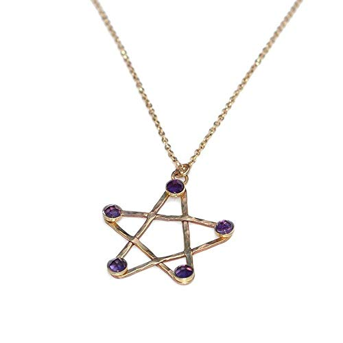 3mm Amethysts Hammered Star Pendant Necklace Gold, Drop Charm Necklace, Amethyst Necklace