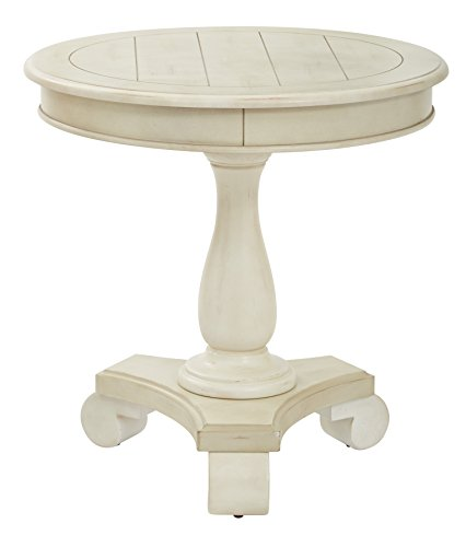 Table Contemporary Painted - INSPIRED by Bassett Avalon Hand Painted Round Accent Table, Antique Beige