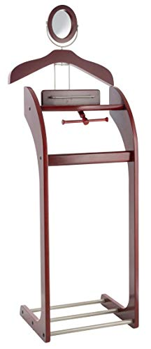 Etienne Alair Clothes Valet Stand for Men with Mirror - Beautiful Solid Hardwood Suit Hanging System with with Trouser Bar, Jacket Hanger, Tray Organizer, Tie & Belt Hook and Shoe Rack, Mahogany