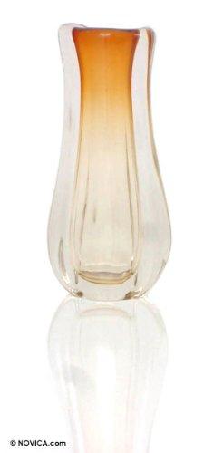 Amazon.com: NOVICA Murano Blown Gl Vase, Yellow, Amber Ruffles ... on yellow contemporary vase, yellow cube vase, yellow mccoy vase, yellow art deco vase, yellow butterfly vase, yellow weller pottery vase, yellow glass vase, yellow chinese vase,