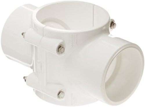 Spears 468S Series PVC Clamp-On Saddle with Double Outlet, with Buna O-Ring, SS Bolt, Schedule 40, White, 4