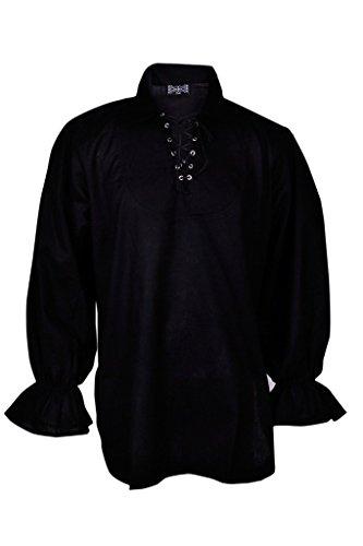 Pirate Costume Black Shirt (GothikShop Men's Renaissance Summer Pirate Shirt Medieval Hippie Costume Small Black)