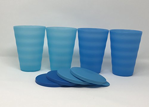 (Tupperware Impressions Tumblers 16Oz Set of 4 Blue No Straw Holes)