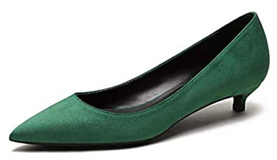 CAMSSOO Women's Classic Pointed Toe Slip On Kitten Heel Dress Shoes Low Heel Pump Party Shoe Green Faux Suede Size US6 CN36