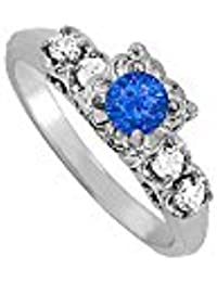 September Birthstone Sapphire and CZ Ring 0.75 TGW