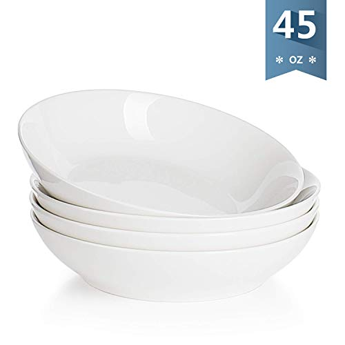 Sweese 1313 Porcelain Large Salad/Pasta Bowls - 45 Ounce/1.3 Quart - Set of 4, White