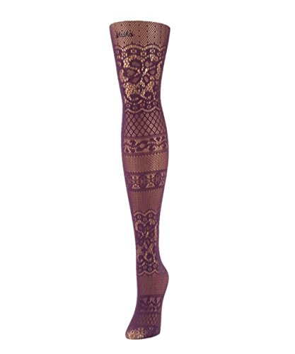 MeMoi Floral Patch Net Tights Grape Compote MS2 156 Medium/Large