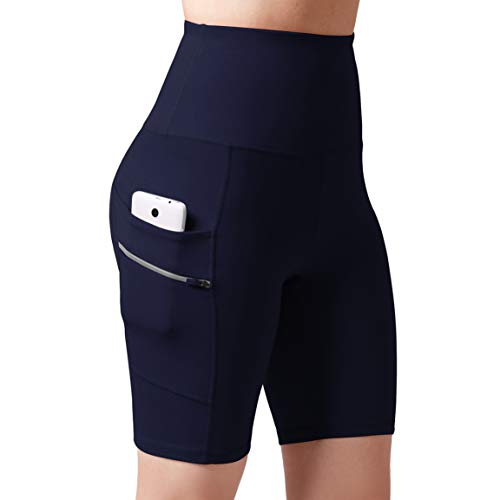 ODODOS Dual Pocket High Waist Workout Shorts,Tummy Control Yoga Gym Running Shorts,Non See-Through Yoga Shorts, Navy, XXX-Large