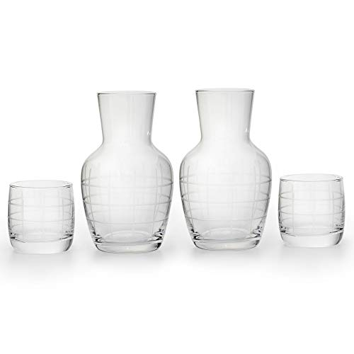 American Atelier 2-Pack Medallion Checker 2 Piece Set Night Carafe - Sophisticated Checkered Design w/Glass Tumbler Perfect for Bedside/Desktop/Shelf for All Occasions