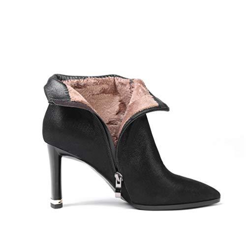 Y botines invierno Zapatos Negro Fiesta Yan Punta Para Mujer Con Cuero Noche Botines Otoño Botas Un Estrecha De Moda azul wTw0xnqdOR