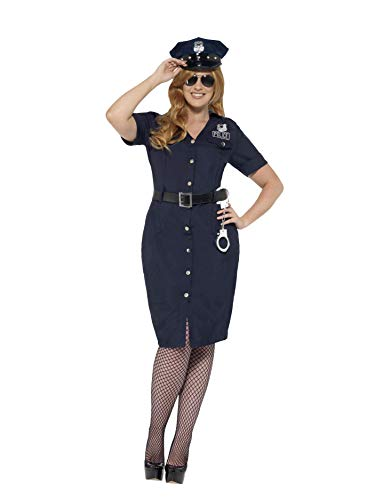 Smiffys Women's NYC Cop Costume, Dress, Belt and Hat, Cops and Robbers, Serious Fun, Plus Size 26-28, 24451 -