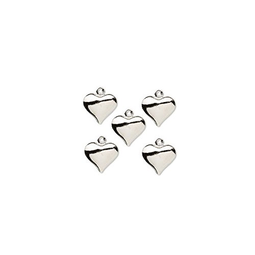 Charm Heart Puffed Silver Plated Brass 12x11mm Package of 100 - WB1907FN
