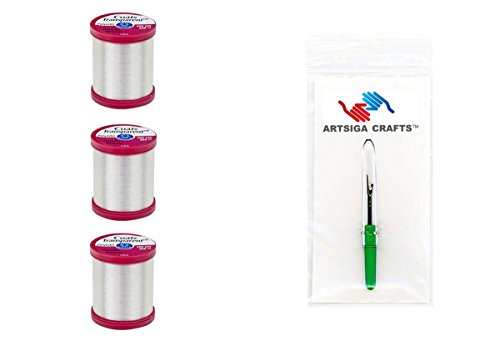 Coats & Clark Sewing Thread Transparent Polyester Thread Size .004 400 Yards (3-Pack) Clear Bundle with 1 Artsiga Crafts Seam Ripper S995-9900-3P