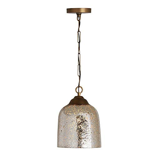 Austin Allen & Co 9D339A Newport - One Light Pendant, Patinaed Brass Finish with Stone Seeded Mercury Glass