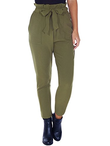 Simplee Apparel Women's Slim Straight Leg Stretch Casual Pants with Pockets Green,Size 4/6 (S)