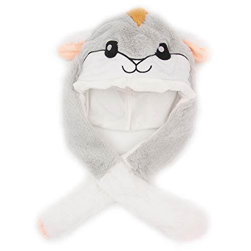 Tinfun Cute Hamster Hat/Funny Animal Plush Hat with Moving Ears When Pressing The Paws -