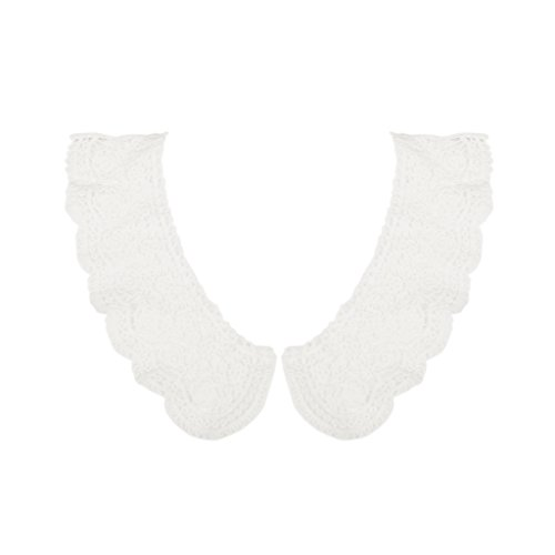(Fityle White Flower Guipure Neckline Peter Pan Collar Applique DIY Sew On ,2 Pair)