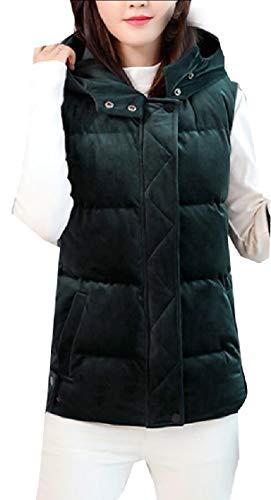 めるホバー仕方chenshiba-JP 女性のノースリーブプラスサイズジャケットは、ベルベットモックネックダウンベストダウン
