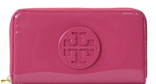 Tory Burch Stacked Patent Zip Continental Wallet Hibiscus Flower Pink