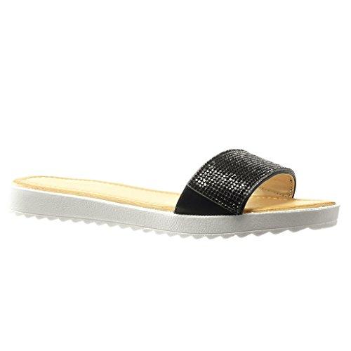 Angkorly - Chaussure Mode Sandale femme strass diamant Talon plat 2 CM - Noir