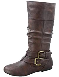 FZ-Sonny-54 Women's Stylish Round Toe Buckle Zipper Slouchy Mid-Calf Riding Boots Shoes
