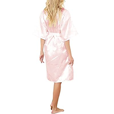 SJINC Women's Silk Bathrobes Solid Kimono Knee Length Lingerie Bridal Satin Robe