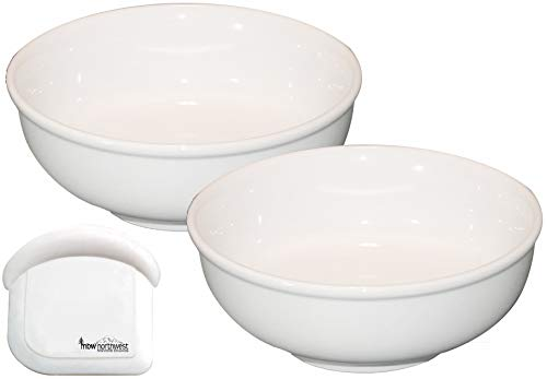 Cameo Authentic Ceramic Pho Soup Bowls with Pan Scraper, 8.25 Inch, 54 Ounce, Set of 2, White Ivory