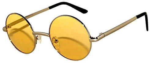 Round Retro Vintage Circle Style Tint Sunglasses Metal Silver Yellow Lens 43mm