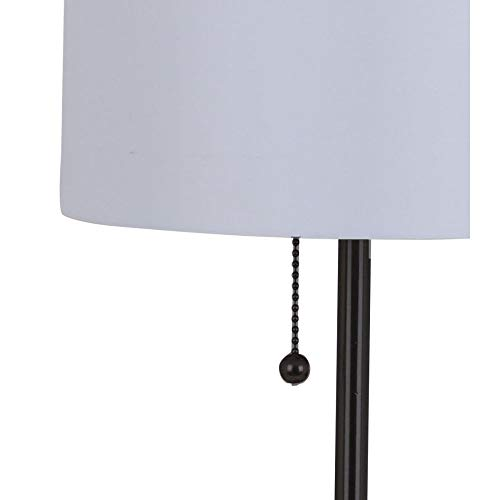 Catalina Lighting 21453-001 Modern Stick Accent Table Lamp with Pull Chain and White Fabric Shade, 19 , Black