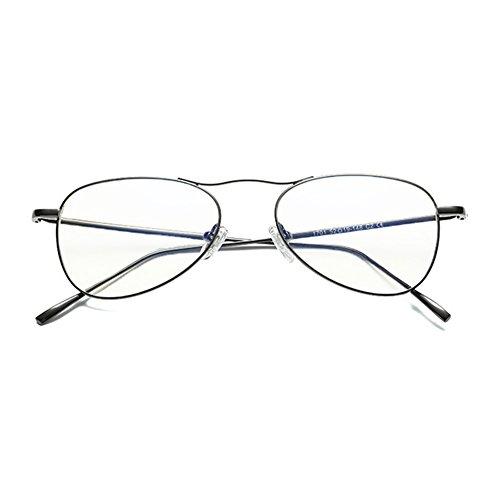 c000ce40ae Hombres Mujeres Anti Azul Gafas de Luz - Marco de Metal Aviador Gafas Claro  Lentes Gafas