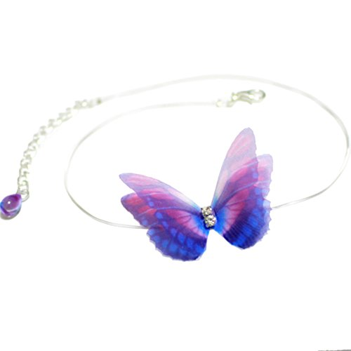OBSEDE 1PCS Cute Cloth Art Butterfly Pendant Necklace for Women 13INCH (Butterfly Purple Pendant)